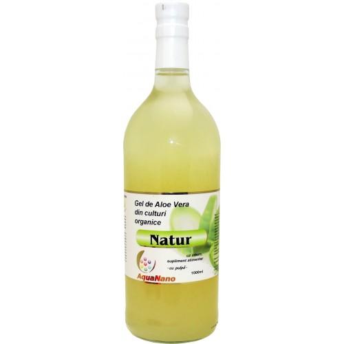 Aloe-Natur gel organic Aloe vera cu pulpă, flacon sticlă 1L, Aghoras