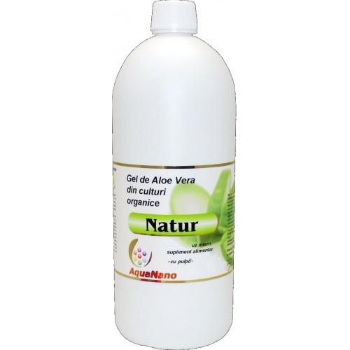 Aloe-Natur gel organic Aloe vera cu pulpă 1L polietilena, Aghoras