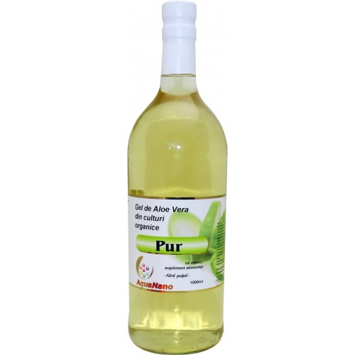 Aloe-Pur gel organic de Aloe Vera fără pulpă flacon sticlă 1 L, Aghoras
