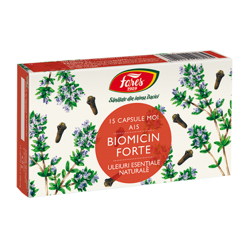 Biomicin forte A15(antibiotic natural), 15 capsule moi, Fares