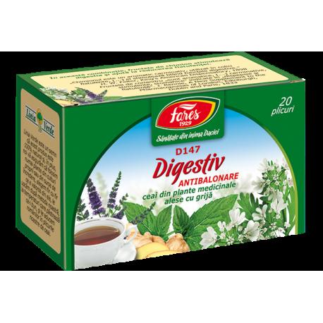 Ceai Digestiv Antibalonare, D147, 20 plicuri Fares