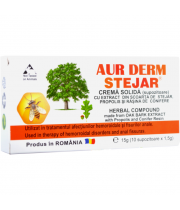 Aur Derm crema solida (supozitoare) cu extract din scoarta de stejar, 10X1.5G, Laur Med Plant