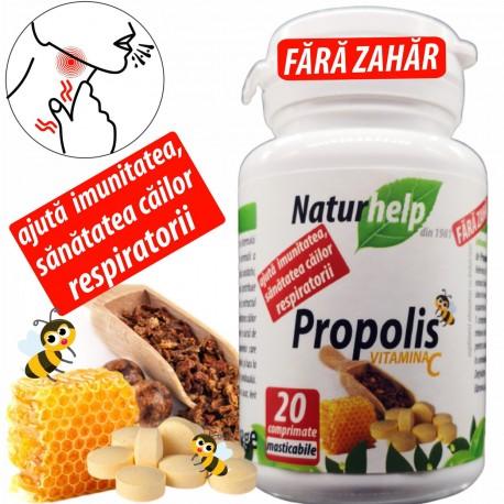 Propolis cu Vitamina C 20 cpr masticabile fără zahăr NaturHelp