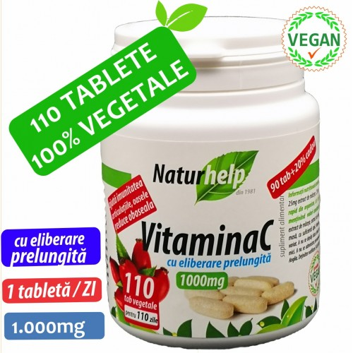VITAMINA C 1000MG 110 TABLETE VEGETALE CU MACESE NATURHELP