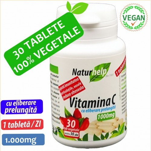 VITAMINA C 1000MG CU MACESE 30 TABLETE VEGETALE NATURHELP