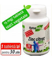ZINC CITRAT 15MG 30 TABLETE VEGETALE NATURHELP